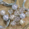 12ct Beige and Silver 3-Finish Glass Christmas Ornaments 3.75""