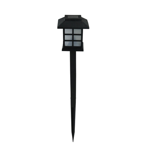 "11.25"" Black Chinese Lanterns Solar Light with White LED Light and Lawn Stake"