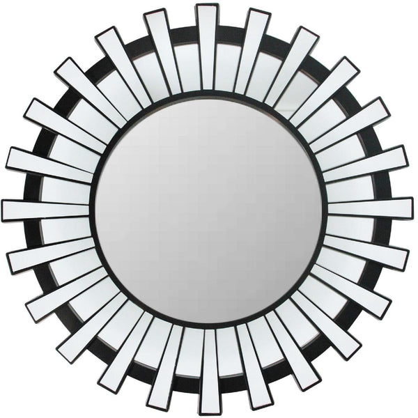 "25.5"" Matte Black and Clear Sunburst Round Wall Mirror"