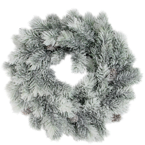 "12"" Flocked Green Pine Decorative Christmas Wreath with Pine Cones"