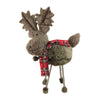 "15.75"" Brown Elk with Red and Black Plaid Scarf Christmas Decoration"