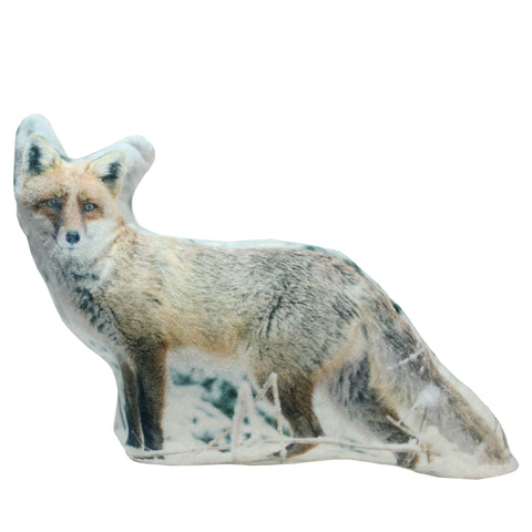 15.75 White, Brown and Black Fox in Snow Covered Woods Throw Pillow - Polyester