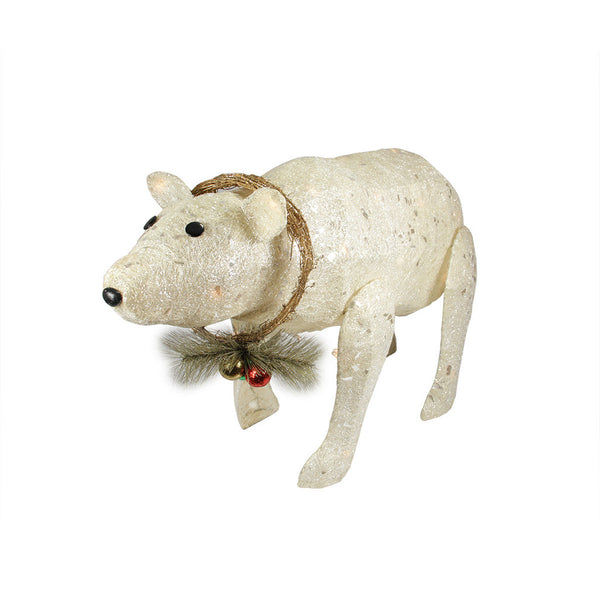 "31"" White Lighted Sparkling Sisal Baby Polar Bear Christmas Outdoor Decoration"