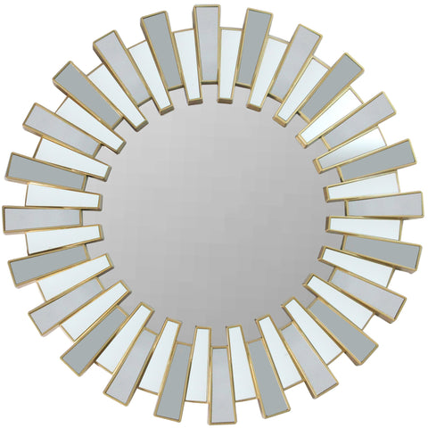 "25.5"" Aztec Sunburst Matte Gold Round Wall Mirror"