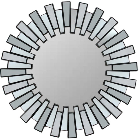"25.5"" Aztec Sunburst Matte Black Round Wall Mirror"
