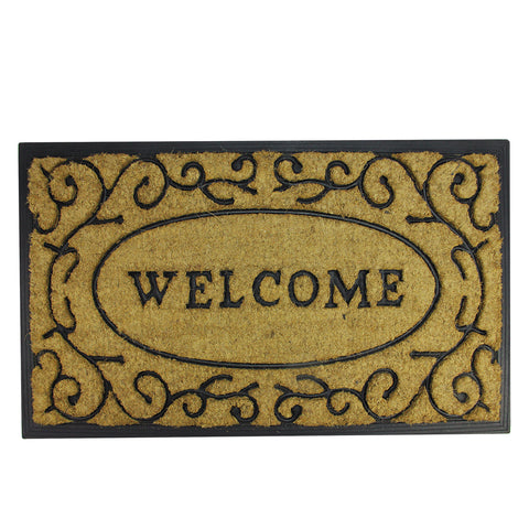 "Brown and Black Welcome with Black Scrollwork Doormat 18"" x 30"""