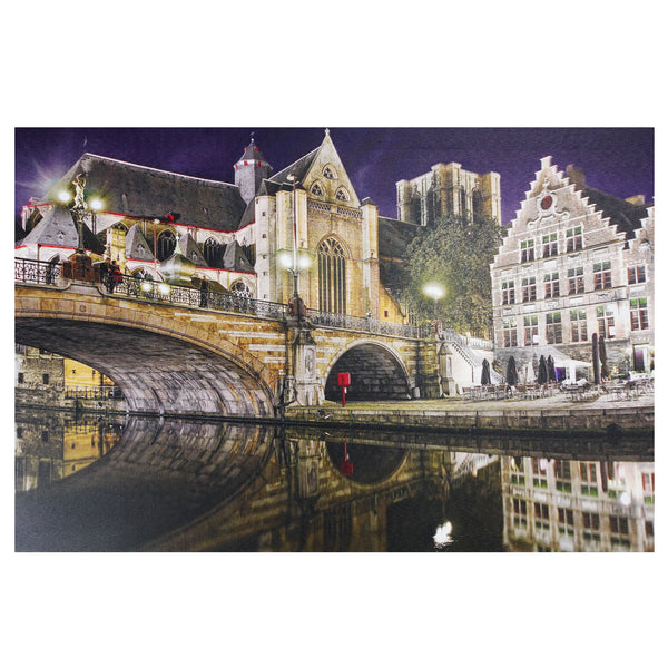 "LED Lighted Famous St. Michael's Bridge and Church in Ghent, Belgium Canvas Wall Art 15.75"" x 23.5"""