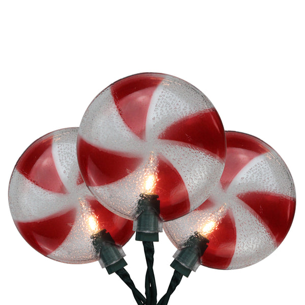 10-Count Peppermint Candy Shaped Christmas Light Set, 6ft Green Wire