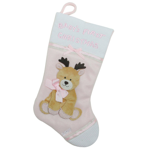 Pink and Brown Reindeer Hanging 'Baby's First Christmas' Christmas Stocking 16''