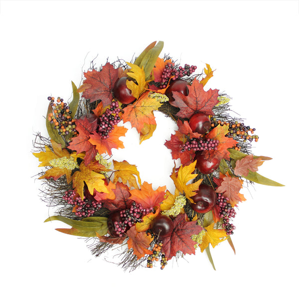 Apple and Berry Twig Artificial Wreath, Red 22-Inch