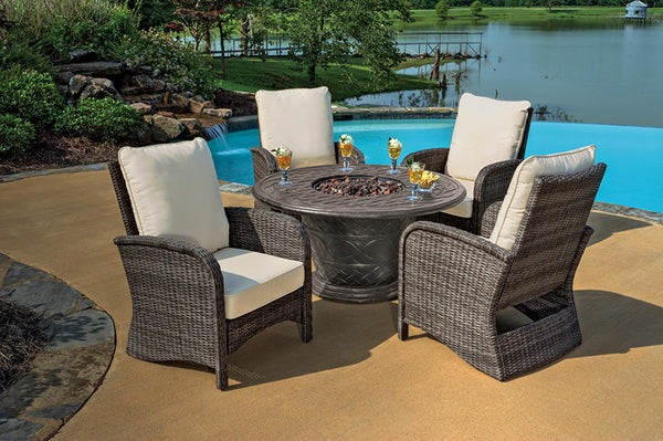 5pc Portico Wicker Patio Chair and Cast Aluminum Gas Fire Pit Outdoor Furniture Set - Beige Cushions