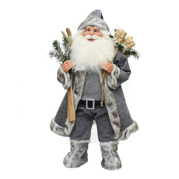 "24.5"" Gray and White Standing Santa Claus with Skis Christmas Figurine"