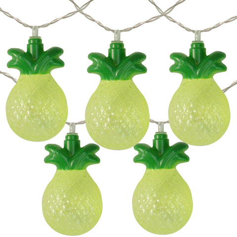 10 Battery Operated Green Pineapple Summer LED String Lights - 4.5 ft Clear Wire