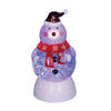 "7.5"" LED Lighted Color-Changing Snowman with Santa Hat Snow Globe Christmas Figure"