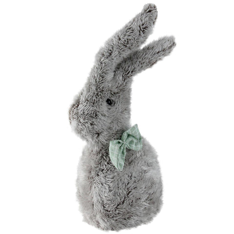 "9"" Gray Plush Rabbit with Green Bow Tie Easter Decoration"