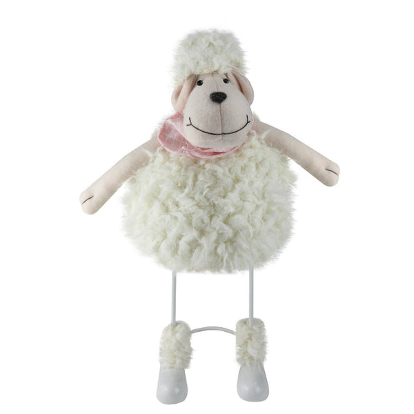 "16"" White Shaking Sheep with Pink Bandanna Easter Spring Tabletop Decor"