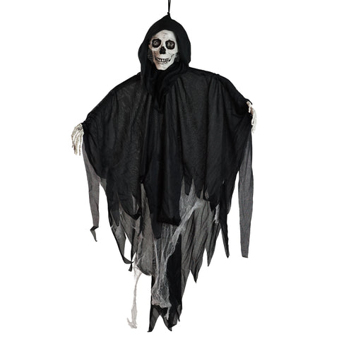 "36"" Touch Activated Lighted Talking Reaper Animated Hanging Halloween Decoration with Sound"