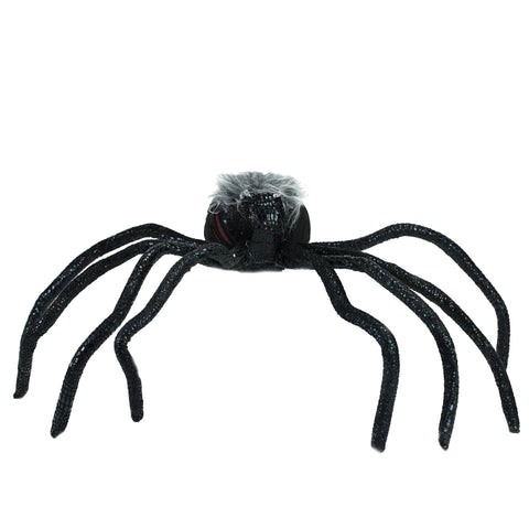 "26"" Black and Orange Lighted Shaking Spider Halloween Decoration with Sound"