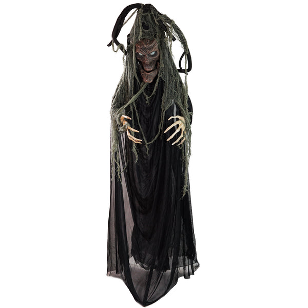 "76"" Black Touch Activated Lighted Tree Man Animated Halloween Decor with Sound"