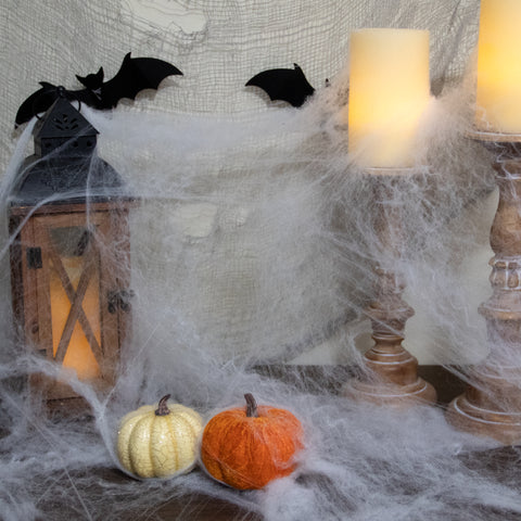 "10"" Stretchable White Spider Web Halloween Decoration"