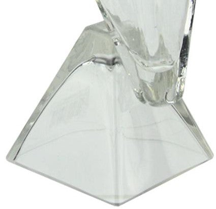 "13.75"" Offset Pyramids Abstract Transparent Glass Vase"