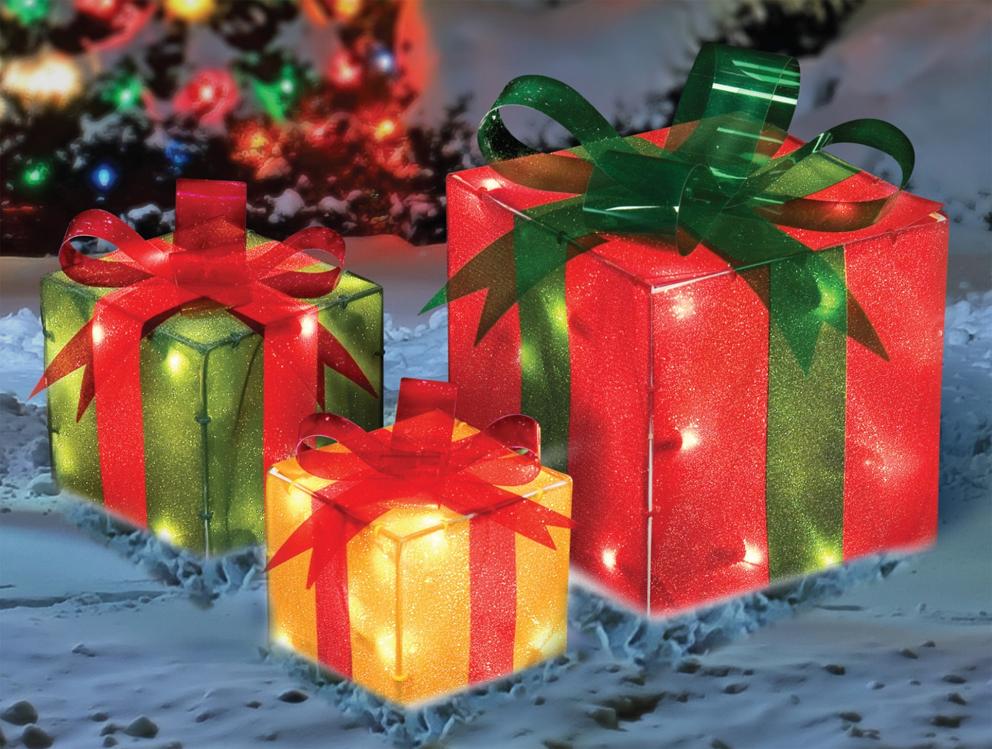 set of 3 red green and yellow glistening lighted gift box christmas outdoor decorations 9