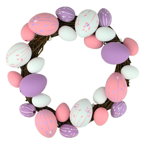 "10"" Pastel Pink, Purple and White Floral Stem Easter Egg Spring Grapevine Wreath"