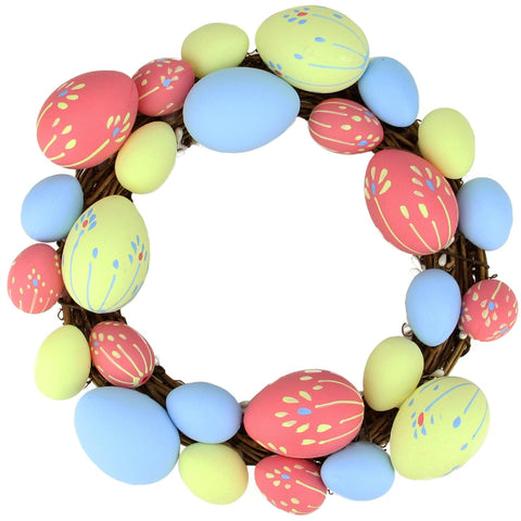 "10"" Pink, Yellow and Blue Floral Stem Easter Egg Spring Grapevine Wreath"