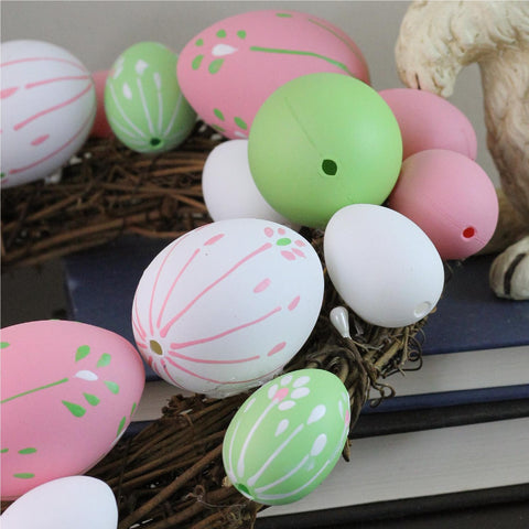 "10"" Pastel Pink, Green and White Floral Stem Easter Egg Spring Grapevine Wreath"