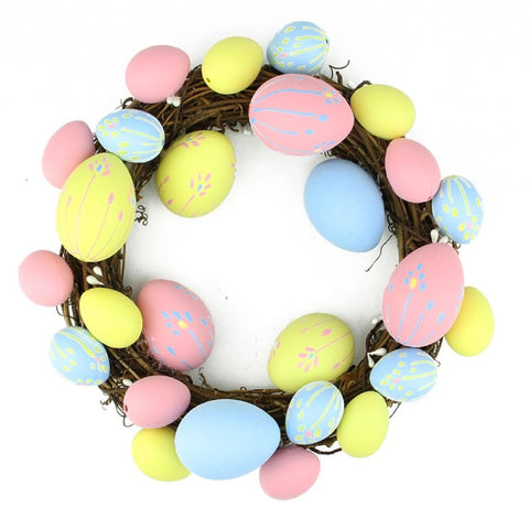 "10"" Pastel Pink, Yellow and Blue Floral Stem Easter Egg Spring Grapevine Wreath"