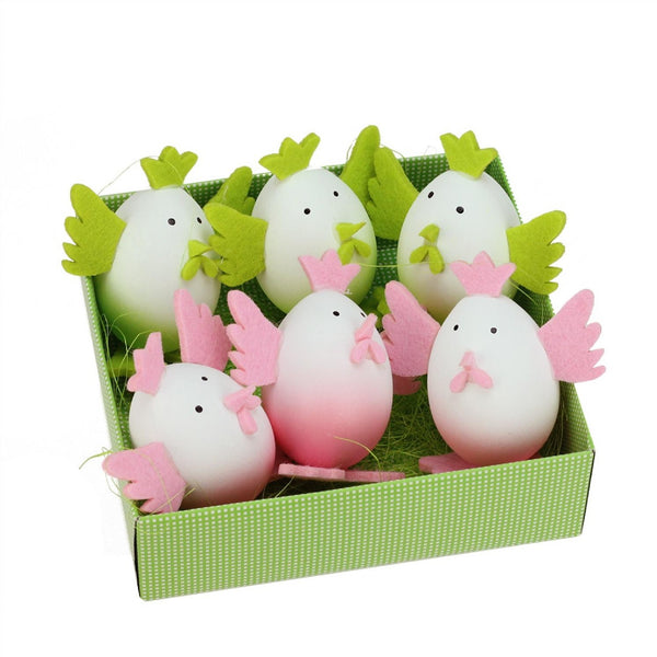 Set of 6 Pink and Green Felt Easter Egg Chicken Spring Figure Decorations 3""