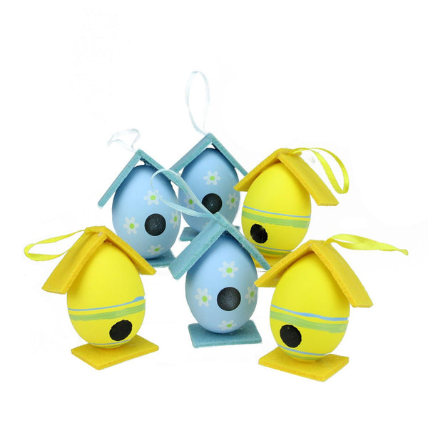 Set of 6 Yellow and Blue Floral Easter Egg Birdhouse Ornaments 3'