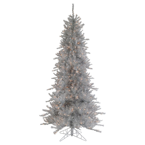 9' Pre-Lit Silver Tinsel Slim Artificial Christmas Tree - Clear Lights