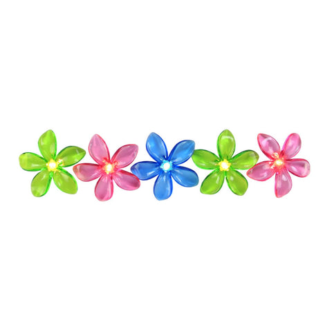 10-Count Pink and Green Mini Flower Garden Novelty Light Set, 6ft White Wire