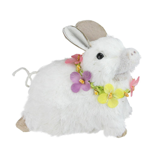 "6.5"" White Sisal Piglet with Floral Lei Spring Figure"