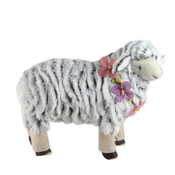 "8"" White and Pink Artificial Standing Sheep Wearing Flower Necklace"