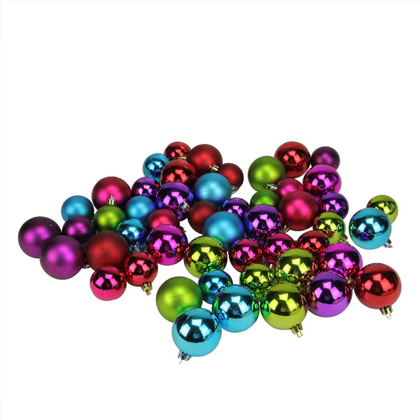 "50ct Purple and Green Shatterproof 2-Finish Christmas Ball Ornaments 2"" (50mm)"