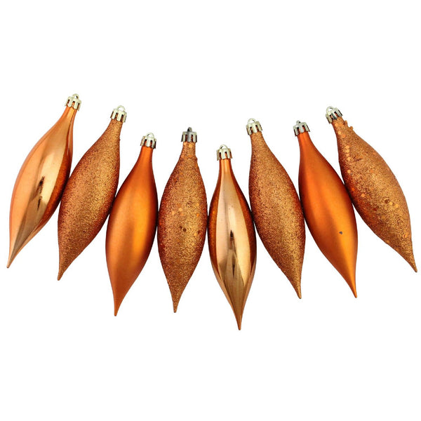 8ct Burnt Orange Shatterproof 4-Finish Christmas Finial Drop Ornaments 5.5""
