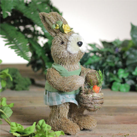 "10.5"" Sisal Easter Bunny Rabbit Spring Figure with Carrot Basket"