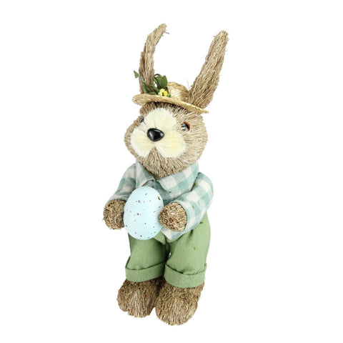 "10"" Spring Sisal Easter Standing Bunny Rabbit Figure with Robin's Egg"