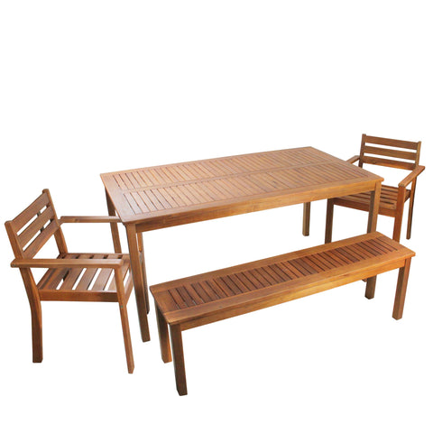 4pc Brown Solid Acacia Wood 4-Person Outdoor Patio Dining Set 63""