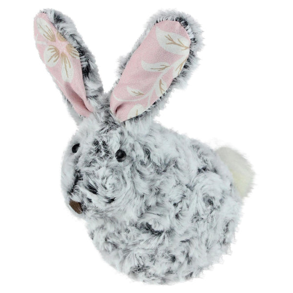 "6.5"" Gray and Pink Floral Rabbit Easter Tabletop Decor"
