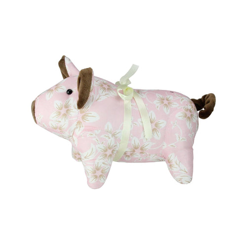 "10"" Country Pink and Brown Floral Easter Piglet Spring Decoration"