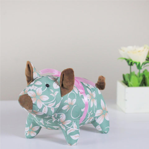 "10"" Green and Brown Floral Piglet Spring Easter Decor"