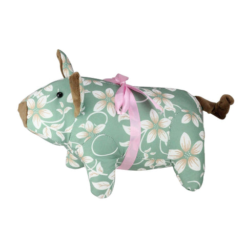 "10"" Country Green Floral Easter Piglet Spring Decoration"