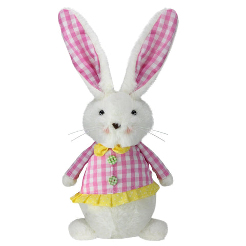 "13.5"" Pink and White Checkered Spring Girl Rabbit Decor"