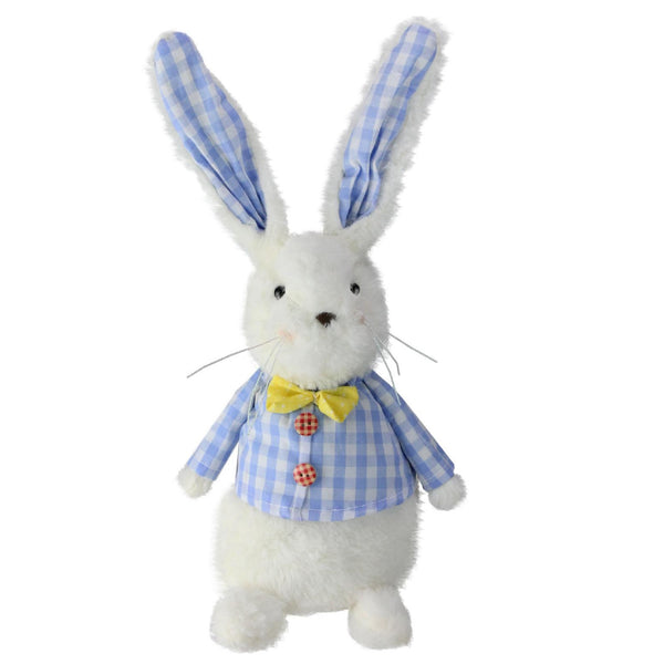 "13.5"" Blue and White Easter Plush Rabbit with Checkered Coat"