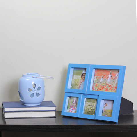 "11.5"" Blue Multi-Sized Puzzled Collage Picture Frame"