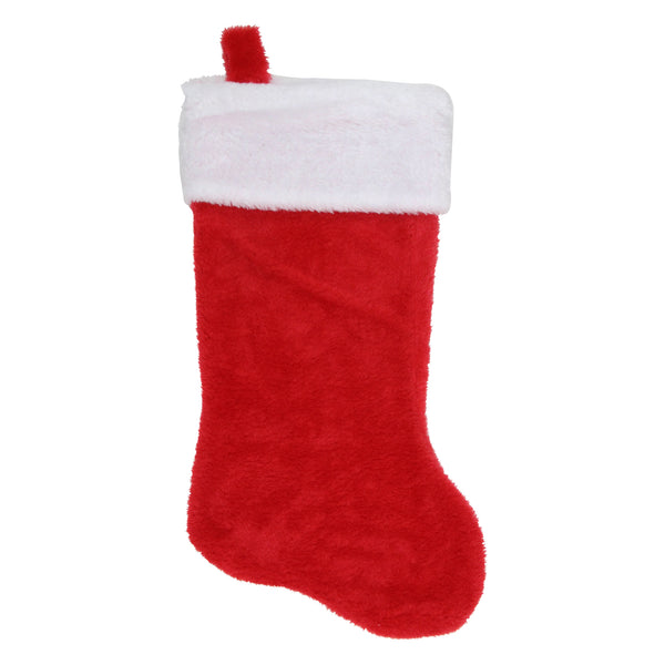 "17"" Traditional Red with White Trim Hanging Christmas Stocking"