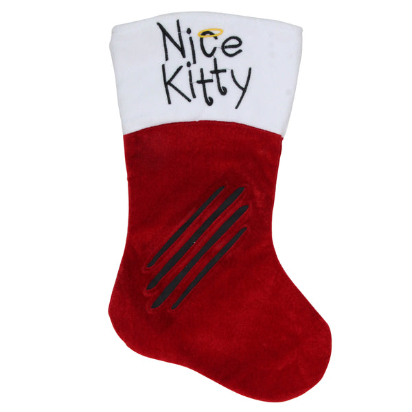 "19"" Red with White Angel Pet Nice Kitty Christmas Stocking"